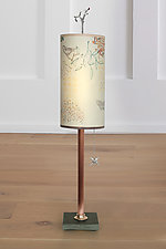Copper Table Lamp with Small Tube Shade in Ecru Journey by Janna Ugone (Mixed-Media Table Lamp)