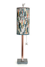 Copper Table Lamp with Small Tube Shade in Papers by Janna Ugone (Mixed-Media Table Lamp)