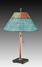 Copper Table Lamp with Large Conical Shade in Paradise Pool by Janna Ugone (Mixed-Media Table Lamp)