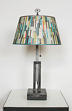 Adjustable Height Steel Table Lamp with Shade in Papers by Janna Ugone (Mixed-Media Table Lamp)