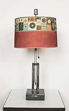 Adjustable Height Steel Table Lamp with Large Drum Shade in Lucky Mosaic by Janna Ugone (Mixed-Media Table Lamp)