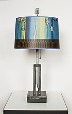 Adjustable Height Steel Table Lamp with Large Drum Shade in Leaf Stripe Blue by Janna Ugone (Mixed-Media Table Lamp)