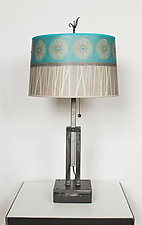 Adjustable Height Steel Table Lamp with Large Drum Shade in Pool by Janna Ugone (Mixed-Media Table Lamp)