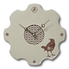 Bird Etching Clock by Janna Ugone and Justin Thomas (Ceramic Wall Clock)