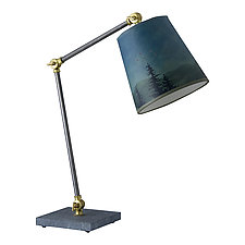 Task Table Lamp with Small Drum Shade in Midnight Sky by Janna Ugone (Mixed-Media Desk Lamp)