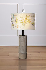 Ceramic and Wood Table Lamp with Large Drum Shade in Artful Branch by Janna Ugone and Justin Thomas (Mixed-Media Table Lamp)