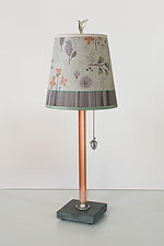 Copper Table Lamp with Small Drum Shade in Flora and Maze by Janna Ugone (Mixed-Media Table Lamp)