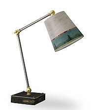 Task Table Lamp with Small Drum Shade in Midnight Sky with Birch Bark by Janna Ugone (Mixed-Media Table Lamp)