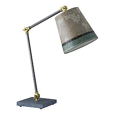 Task Table Lamp with Small Drum Shade in Sand Map by Janna Ugone (Mixed-Media Desk Lamp)