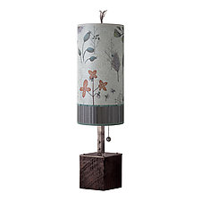 Steel Table Lamp on Reclaimed Wood with Small Tube Shade in Flora and Maze by Janna Ugone (Mixed-Media Table Lamp)