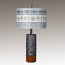 Ceramic and Wood Table Lamp with Large Drum Shade in Woven Spring and Mist by Janna Ugone (Mixed-Media Table Lamp)