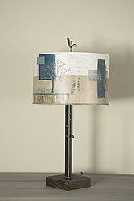 Steel Table Lamp on Wood with Large Drum Shade in Wander in Drift by Janna Ugone (Mixed-Media Table Lamp)