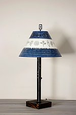 Steel Table Lamp on Wood with Medium Conical Shade in Woven & Sprig in Sapphire by Janna Ugone (Mixed-Media Table Lamp)