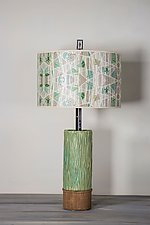 Ceramic and Wood Table Lamp with Large Drum Shade in Prism by Janna Ugone (Mixed-Media Table Lamp)