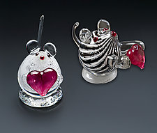 Heart Mice by Bernstein Glass (Art Glass Sculpture)