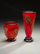 Red Leaf Vases by Bernstein Glass (Art Glass Vases)