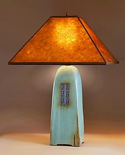 North Union Lamp in Celadon Glaze with Mica Shade by Jim Webb (Ceramic Lamp)