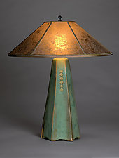 Six-Sided Lamp in Celery Glaze by Jim Webb (Ceramic Table Lamp)