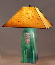 Four-Sided Stoneware Table Lamp by Jim Webb (Ceramic Table Lamp)