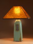 Celadon Lamp with Amber Mica Shade by Jim Webb (Ceramic Lamp)