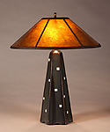 Six-Sided Lamp in Onyx with White Squares by Jim Webb (Ceramic Table Lamp)