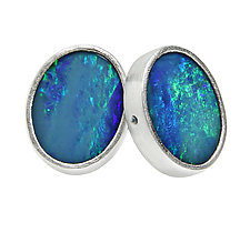 Sterling Silver and Opal Stud Earrings by Jodi Brownstein (Silver & Stone Earrings)