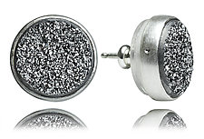 Sterling Silver and Silver Drusy Stud Earrings by Jodi Brownstein (Silver & Stone Earrings)