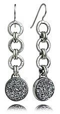 Oscar Flexi Earrings with Silver Drusy by Jodi Brownstein (Silver & Stone Earrings)