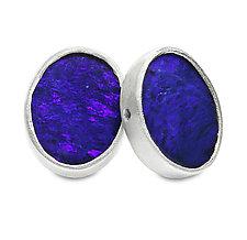 Sterling Silver and Opal Stud Earrings by Jodi Brownstein (Silver & Stone Earrings)