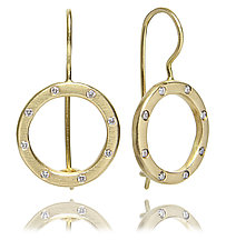 18k Gold and Diamond Dangly Circles by Jodi Brownstein (Gold & Stone Earrings)