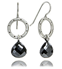 Betty Earrings with Hematite Briolettes by Jodi Brownstein (Silver & Stone Earrings)