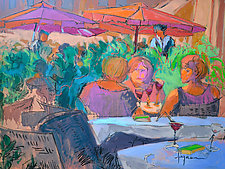 Three Sisters Under the Umbrella by Dorothy Fagan (Mixed-Media Painting)