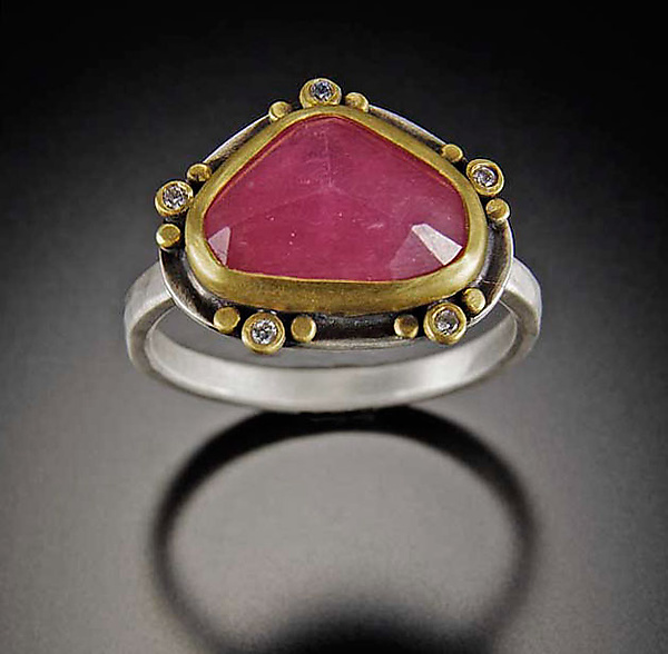 Rose Cut Pink Sapphire with Five Diamond Trios