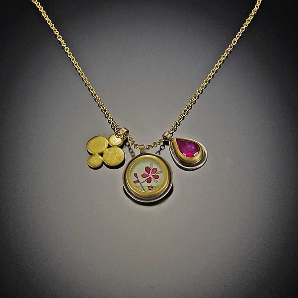 Plum Blossom and Ruby Charm Necklace