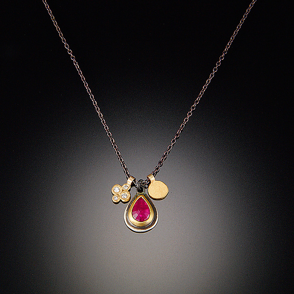 Ruby and Small Disk Gold Charm Necklace