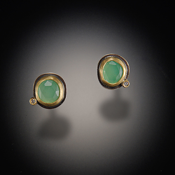 Chrysoprase Stud Earrings with Diamond Dot