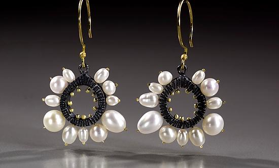 Round Pearl Framed Earrings