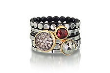 Diamond & Gem Gold Stacking Ring Set by Chihiro Makio (Gold, Silver & Stone Ring)