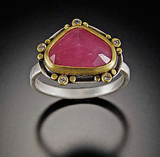 Rose Cut Pink Sapphire with Five Diamond Trios by Ananda Khalsa (Gold, Silver & Stone Ring)