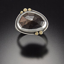 Rose Cut Chocolate Sapphire Ring by Ananda Khalsa (Gold, Silver & Stone Ring)