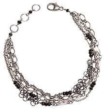 Five-Strand Layering Chain Bracelet by Chihiro Makio (Silver & Stone Bracelet)
