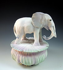 White Elephant Totem Box by Nancy Y. Adams (Ceramic Box)
