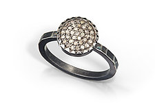 10mm Pave Diamond Ring with Hammered Band by Chihiro Makio (Silver & Stone Ring)