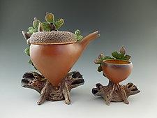 White Oak Acorn Tea with Cup by Nancy Y. Adams (Ceramic Sculpture)