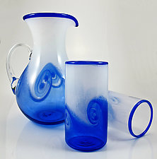 Wave Pitcher & Cups by Michael Richardson, Justin Tarducci and Tim Underwood (Art Glass Pitcher and Drinkware)
