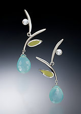 Blue and Green Leaf Earrings by Susan Kinzig (Silver, Polymer & Stone Earrings)