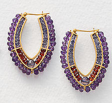 Beaded Hoops by Susan Kinzig (Amethyst Earrings)