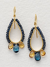 Beaded Teardrop Earrings in Blue Sapphire by Susan Kinzig (Beaded Earrings)