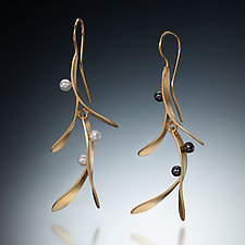 Branch Earrings by Susan Kinzig (Gold & Pearl Earrings)