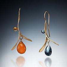 Leaf Drop by Susan Kinzig (Gold & Stone Earrings)